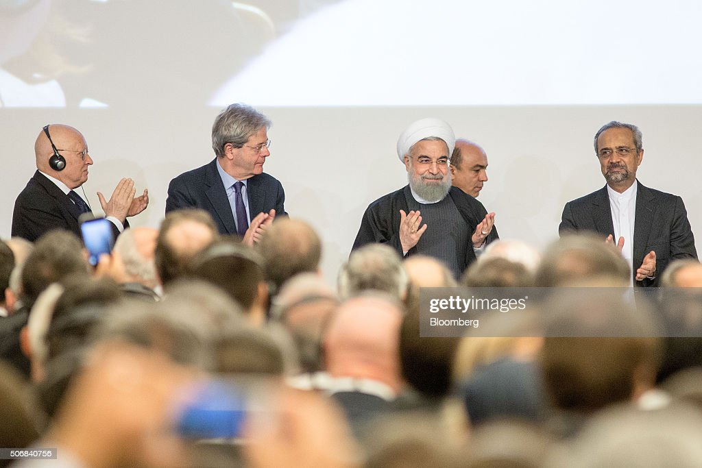 <a gi-track='captionPersonalityLinkClicked' href=/galleries/search?phrase=Hassan+Rouhani+-+Pol%C3%ADtico&family=editorial&specificpeople=641593 ng-click='$event.stopPropagation()'>Hassan Rouhani</a>, Iran's president, center, greets audience members as he arrives to speak during a business forum organized by Confindustria in Rome, Italy, on Tuesday, Jan. 26, 2016. Rouhani is in Italy on the first stop of a European tour, seeking to reap the benefits of the nuclear deal signed last year with world powers. Photographer: Alessia Pierdomenico/Bloomberg via Getty Images