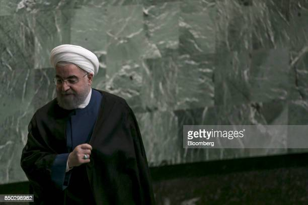 Hassan Rouhani Iran's president exits the podium after speaking during the UN General Assembly meeting in New York US on Wednesday Sept 20 2017...