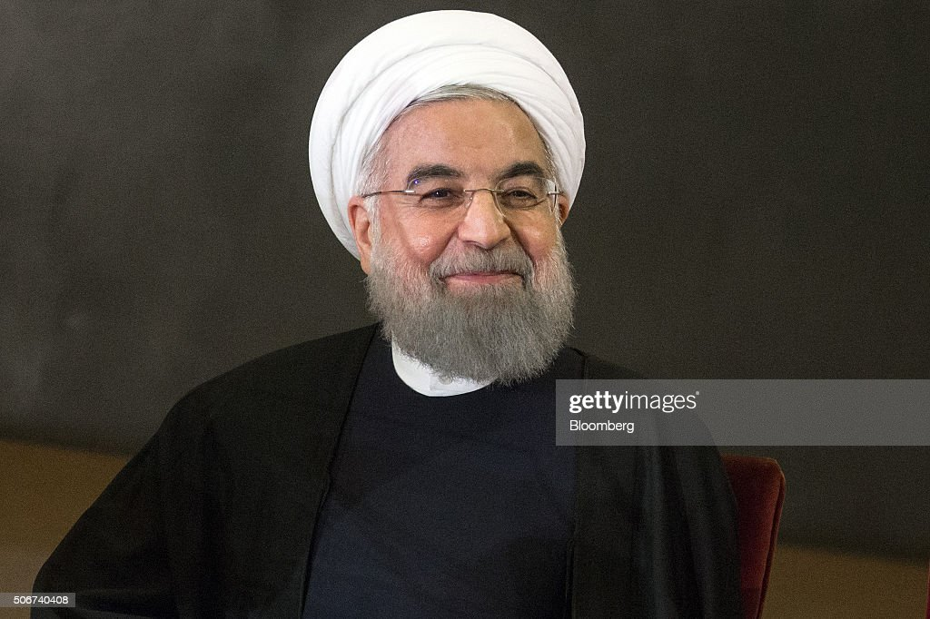 <a gi-track='captionPersonalityLinkClicked' href=/galleries/search?phrase=Hassan+Rouhani+-+Politiker&family=editorial&specificpeople=641593 ng-click='$event.stopPropagation()'>Hassan Rouhani</a>, Iran's president, smiles during a joint news conference with Matteo Renzi, Italy's president, not pictured, at the Capitol Hill in Rome, Italy, on Monday, Jan. 25, 2016. The trip is Rouhani's first to the European Union since his election in 2013 on pledges to end sanctions and improve Iran's ties with the rest of the world. Photographer: Alessia Pierdomenico/Bloomberg via Getty Images