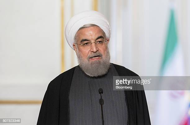 Hassan Rouhani Iran's president speaks during a joint press conference with Francois Hollande France's president not pictured after a meeting at...
