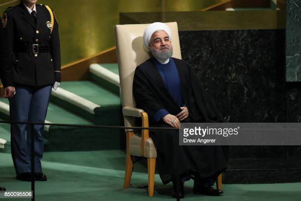 Hassan Rouhani President of the Islamic Republic of Iran waits to address the United Nations General Assembly at UN headquarters September 20 2017 in...