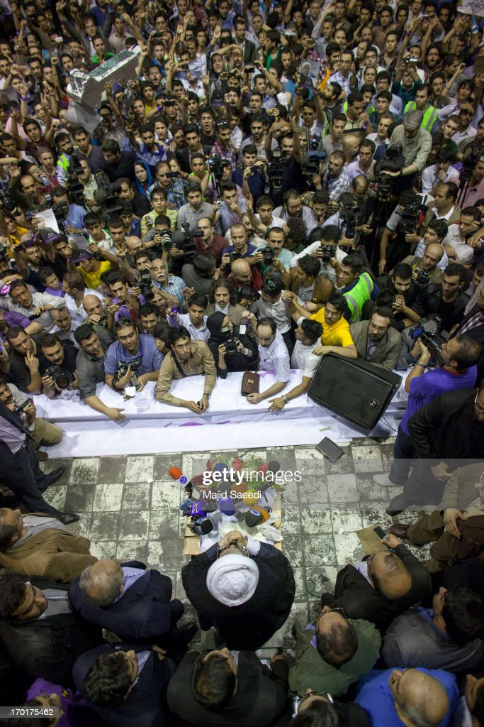 Hassan Rowhani, a moderate Iranian presidential candidate and former top nuclear negotiator, speaks to his supporters as he attends his campaign rally on June 8, 2013 in Tehran, Iran. Iran's media hailed the latest televised debate of presidential candidates, highlighting sharp exchanges among them on topics such as the nuclear issue and political freedom.