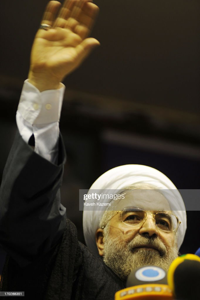 Hassan Rowhani, one of the eight candidates approved to run for the Iranian presidency talks to supporters during a campaign rally in Shiroudi stadium on June 8, 2013 in Tehran, Iran. Iran is to go to the polls for the Iranian general election on June 14, 2013.