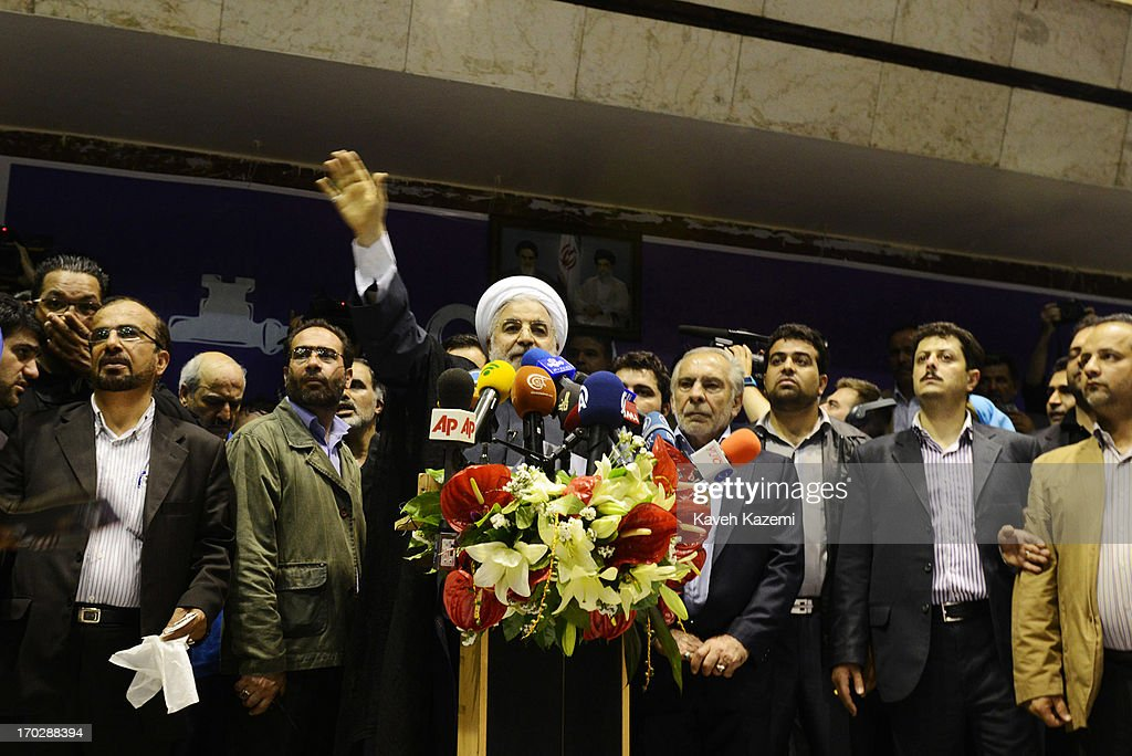 Hassan Rowhani, one of the eight candidates approved to run for the Iranian presidency waves to supporters during a campaign rally in Shiroudi stadium on June 8, 2013 in Tehran, Iran. Iran is to go to the polls for the Iranian general election on June 14, 2013.