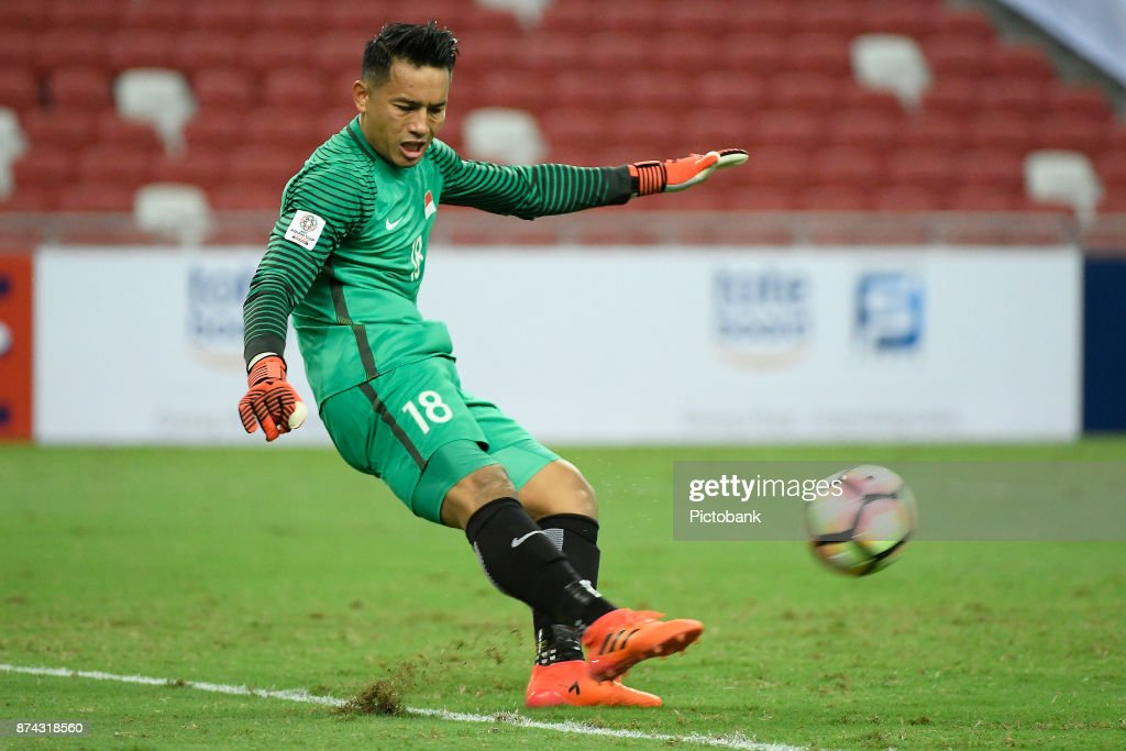 Hassan Sunny of Singapore in action during the Asian Cup Qualifier match between Singapore and Bahrain at the Singapore Sports Hub on November 14, 2017, in Singapore, Singapore.