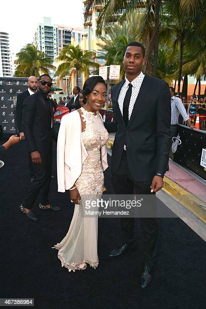 Hassan Whiteside attends Miami Heat Black Tie On Ocean Drive Gala at Betsy Hotel Rooftop on March 14 2015 in Miami Beach Florida
