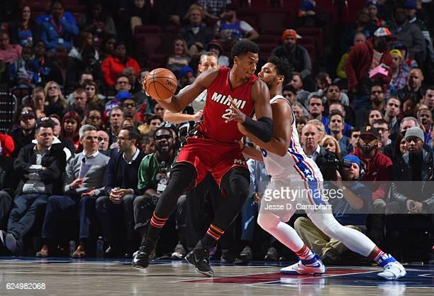 Hassan Whiteside of the Miami Heat backs up to the basket against the Philadelphia 76ers at Wells Fargo Center on November 21 2016 in Philadelphia...