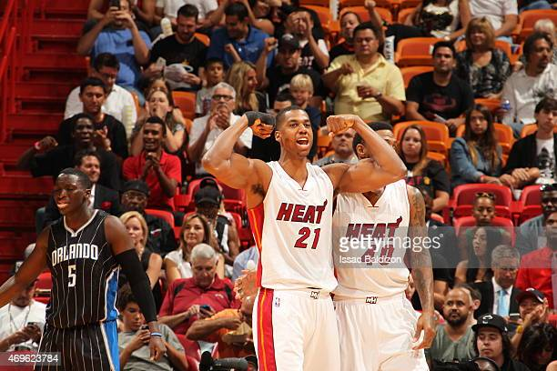 Hassan Whiteside of the Miami Heat ceebrates during the game against the Orlando Magic on April 13 2015 at American Airlines Arena in Miami Florida...