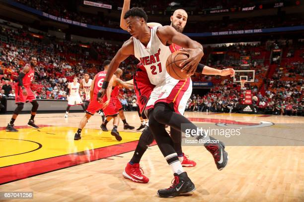 Hassan Whiteside of the Miami Heat drives to the basket during the game against the Toronto Raptors on March 23 2017 at AmericanAirlines Arena in...