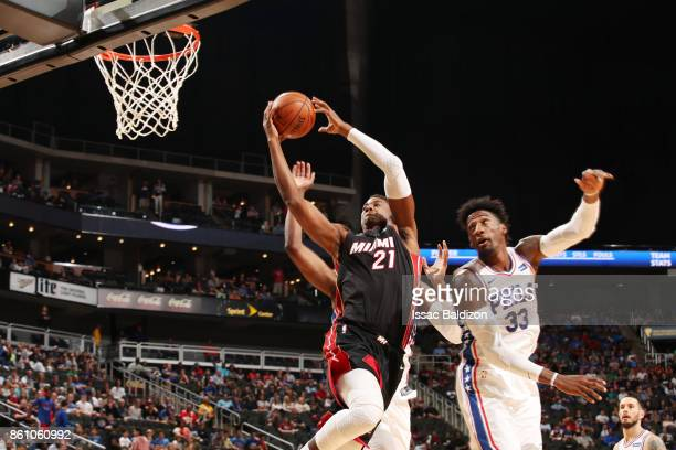 Hassan Whiteside of the Miami Heat drives to the basket during the preseason game against the Philadelphia 76ers on October 13 2017 at Sprint Center...