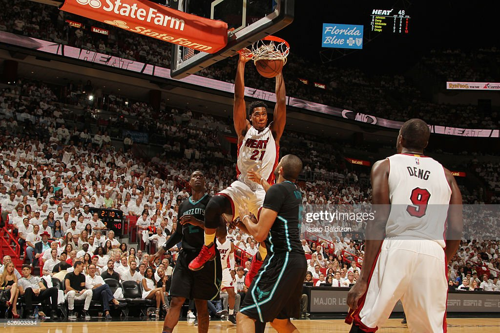 <a gi-track='captionPersonalityLinkClicked' href=/galleries/search?phrase=Hassan+Whiteside&family=editorial&specificpeople=7068411 ng-click='$event.stopPropagation()'>Hassan Whiteside</a> #21 of the Miami Heat dunks against the Charlotte Hornets in Game Seven of the Eastern Conference Quarterfinals during the 2016 NBA Playoffs on May 1, 2016 at American Airlines Arena in Miami, Florida.