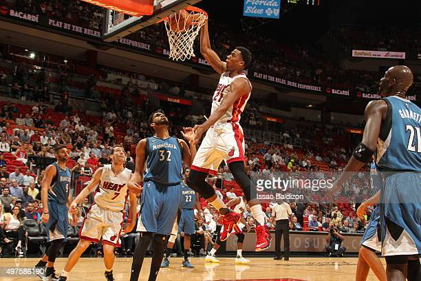 Hassan Whiteside of the Miami Heat dunks against the Minnesota Timberwolves on November 17 2015 at American Airlines Arena in Miami Florida NOTE TO...