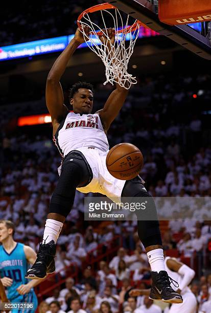 Hassan Whiteside of the Miami Heat dunks during Game One of the Eastern Conference Quarterfinals against the Charlotte Hornets during the 2016 NBA...