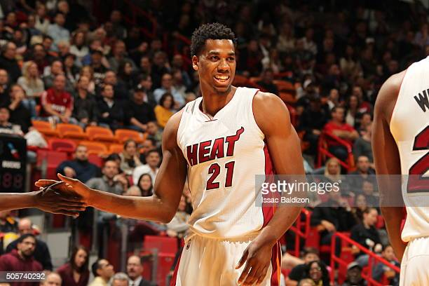 Hassan Whiteside of the Miami Heat during the game against the Milwaukee Bucks on January 19 2016 at AmericanAirlines Arena in Miami Florida NOTE TO...