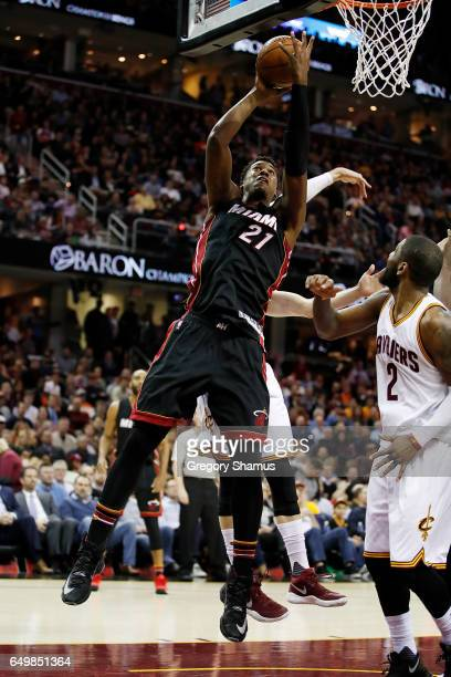 Hassan Whiteside of the Miami Heat gets a first half shot off while playing the Cleveland Cavaliers at Quicken Loans Arena on March 6 2017 in...