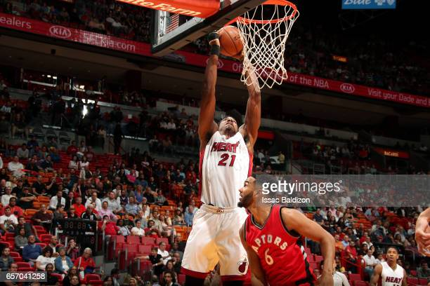 Hassan Whiteside of the Miami Heat goes for a dunk during the game against the Toronto Raptors on March 23 2017 at AmericanAirlines Arena in Miami...