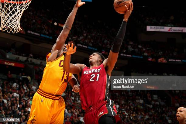 Hassan Whiteside of the Miami Heat goes for a lay up during the game against the Cleveland Cavaliers on March 4 2017 at AmericanAirlines Arena in...