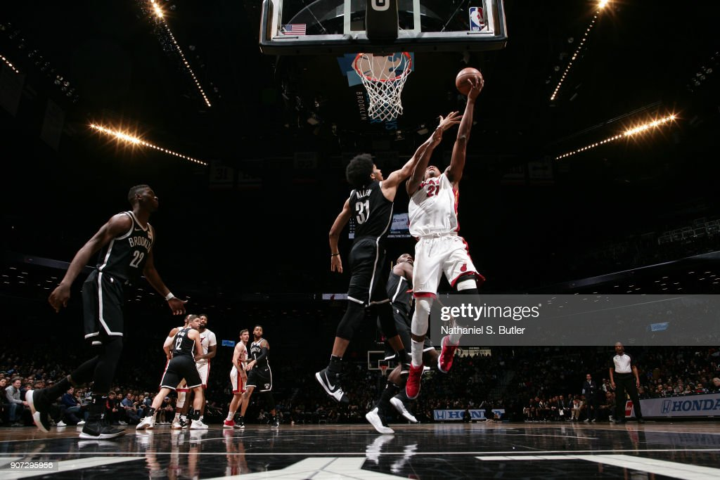 Hassan Whiteside #21 of the Miami Heat goes to the basket against the Brooklyn Nets on January 19, 2018 at Barclays Center in Brooklyn, New York.