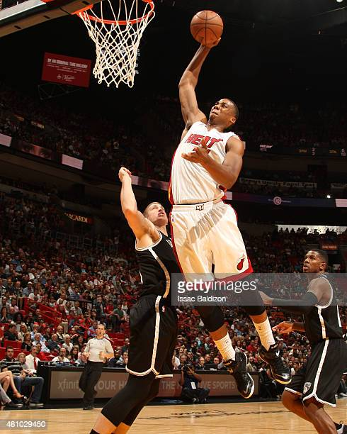 Hassan Whiteside of the Miami Heat goes up for a dunk against the Brooklyn Nets on January 4 2015 at American Airlines Arena in Miami Florida NOTE TO...