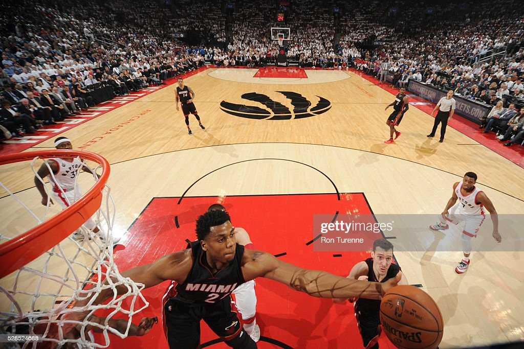 Hassan Whiteside #21 of the Miami Heat grabs the rebound against the Toronto Raptors in Game Two of the Eastern Conference Semifinals on May 5, 2016 at the Air Canada Centre in Toronto, Ontario, Canada.