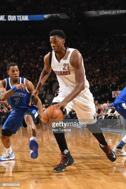 Hassan Whiteside of the Miami Heat handles the ball against the Toronto Raptors on April 7 2017 at the Air Canada Centre in Toronto Ontario Canada...