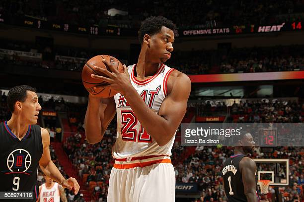Hassan Whiteside of the Miami Heat handles the ball during the game against the Los Angeles Clippers on February 7 2016 at AmericanAirlines Arena in...