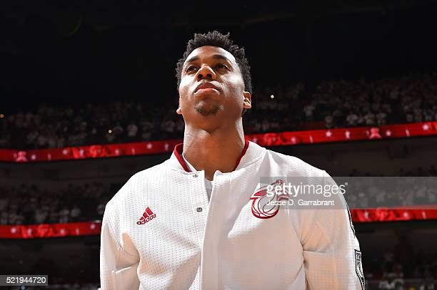 Hassan Whiteside of the Miami Heat looks on against the Charlotte Hornets during the Eastern Conference playoffs First Round Game One on April 17...