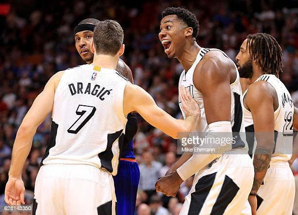 Hassan Whiteside of the Miami Heat reacts to a play during a game against the New York Knicks at American Airlines Arena on December 6 2016 in Miami...