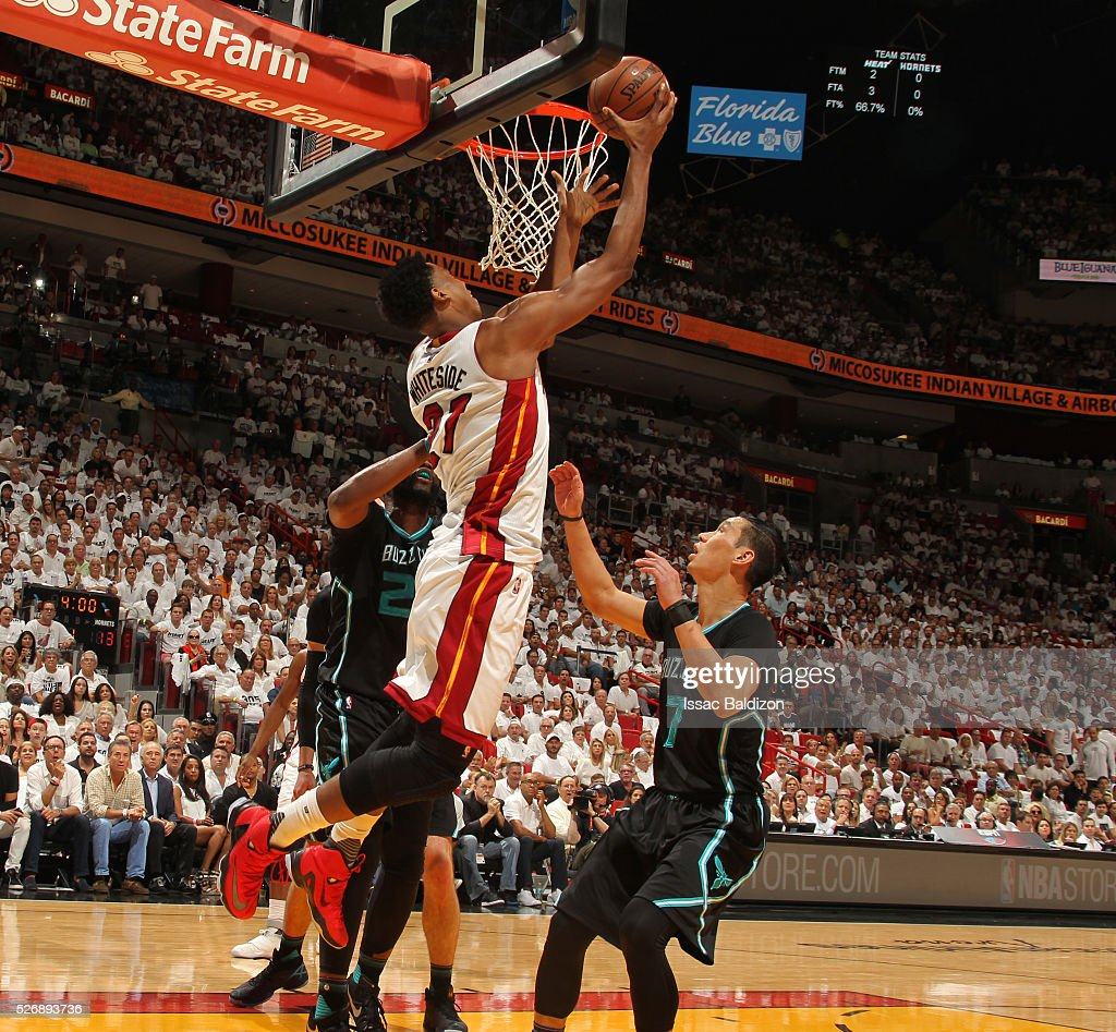 Hassan Whiteside #21 of the Miami Heat shoots the ball against the Charlotte Hornets in Game Seven of the Eastern Conference Quarterfinals during the 2016 NBA Playoffs on May 1, 2016 at American Airlines Arena in Miami, Florida.