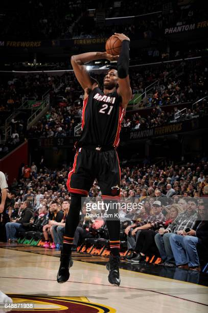 Hassan Whiteside of the Miami Heat shoots the ball during a game against the Cleveland Cavaliers on March 6 2017 at Quicken Loans Arena in Cleveland...