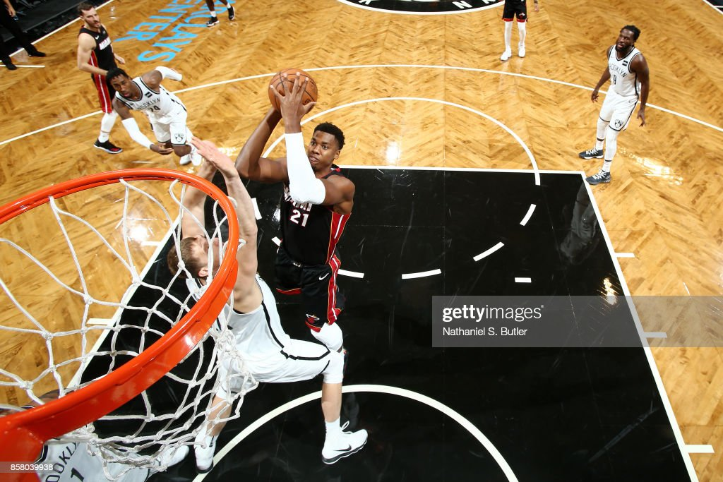 Hassan Whiteside #21 of the Miami Heat shoots the ball during the game against the Brooklyn Nets during a preseason game on October 5, 2017 at Barclays Center in Brooklyn, New York.