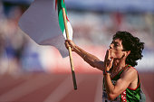Hassiba Boulmerka celebrates victory in the women's 1500meter dash of the 1995 World Championships