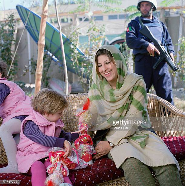 Hassina Syed a business woman with her two daughters Sana and Hirah at her home and business the Gandamack Lodge Hotel She also rents armored cars...