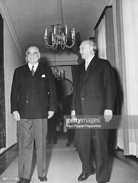 Hastings Ismay 1st Baron Ismay Secretary General of NATO with German Chancellor Konrad Adenauer in Bonn Germany July 5th 1955