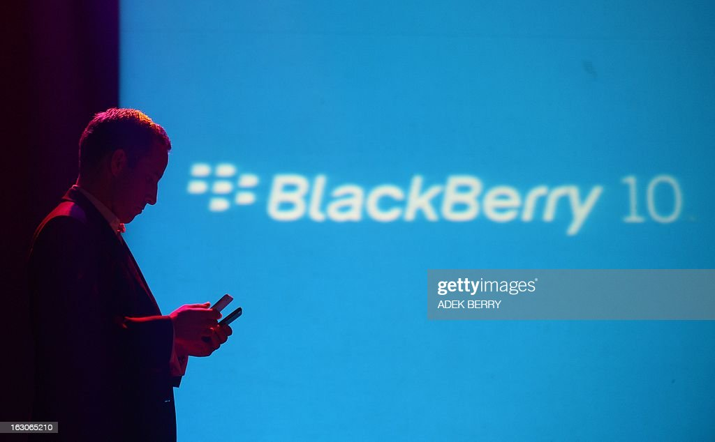 Hastings Singh, BlackBerry's managing director for South Asia holds two Blackberry Z10 smartphones in Jakarta on March 4, 2013. The new BlackBerry Z10 was launched in Jakarta on March 4 and will be available at all BlackBerry Lifestyle outlets across the country on March 15.