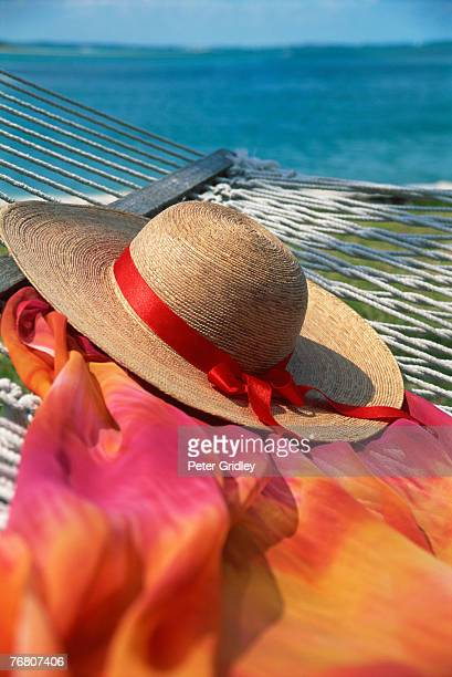 Hat and fabric on hammock