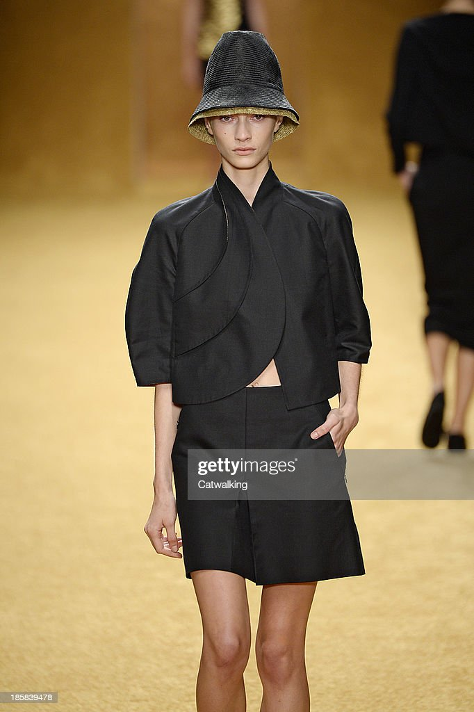 A hat detail on the runway at the Akris Spring 2014 fashion show during Paris Fashion Week on September 29 2013 in Paris France