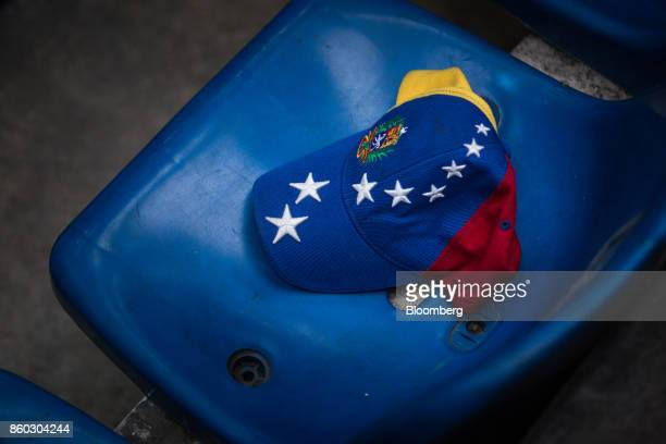 A hat similar to one worn by Henrique Capriles opposition leader and governor of the State of Miranda is seen on a chair during an event marking his...