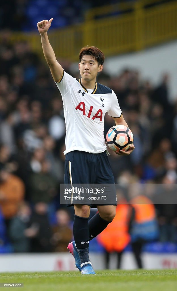 Hat trick scorer Heung-Min Son of Tottenham Hotspur celebrates with the match ball after The Emirates FA Cup Quarter-Final match between Tottenham Hotspur and Millwall at White Hart Lane on March 12, 2017 in London, England.