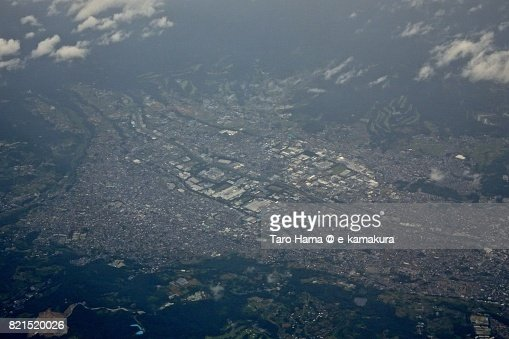 Hatano city in Kanagawa prefecture daytime aerial view from airplane : ストックフォト
