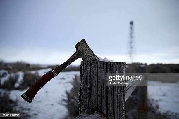 A hatchet sits on a fence at the Malheur National Wildlife Refuge Headquarters on January 5 2016 near Burns Oregon An armed antigovernment militia...