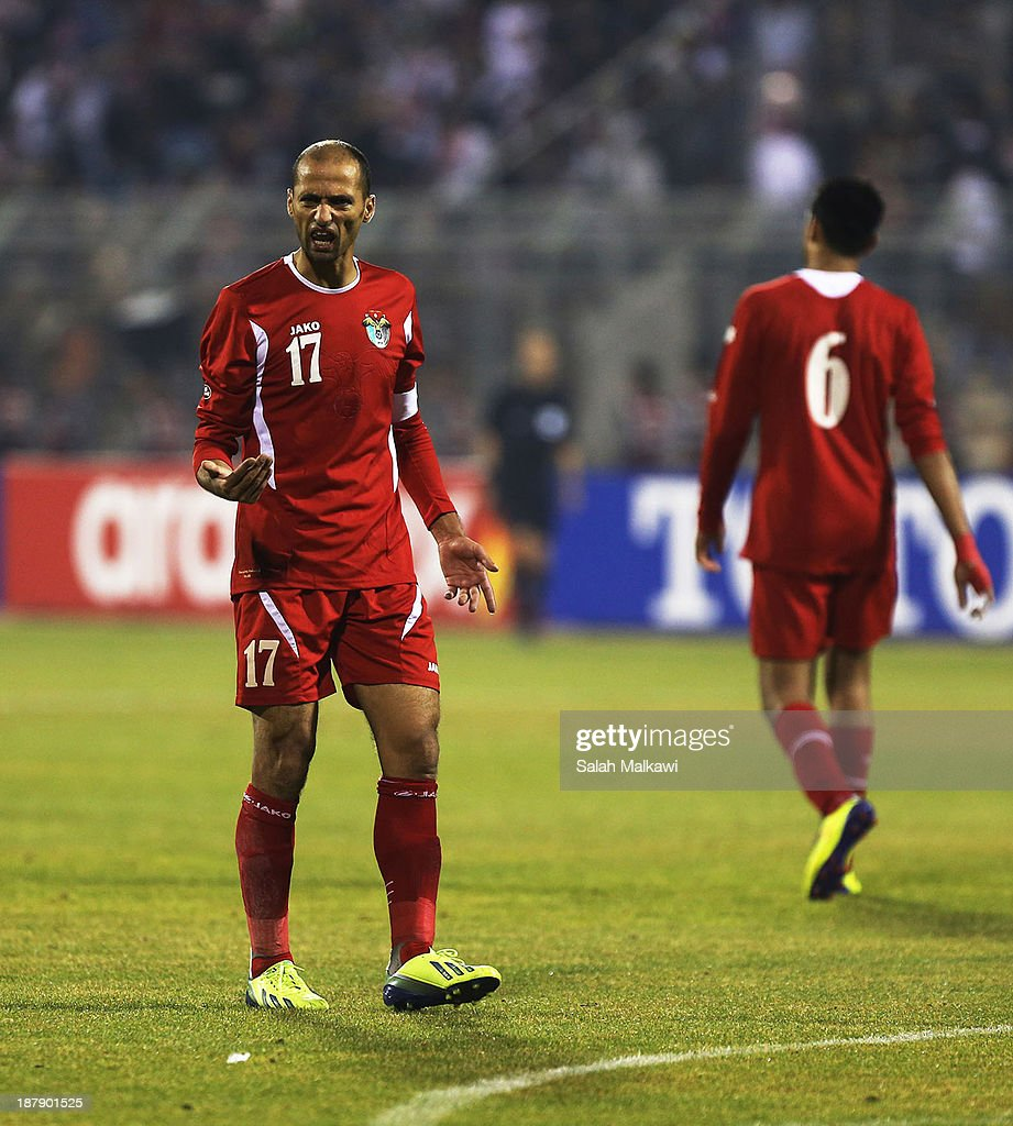 Hatem Aqel of Jordan reacts during the FIFA 2014 World Cup Qualifier: Intercontinental Play-off First Leg between Jordan and Uruguay on November 13, 2013 in Amman, Jordan.