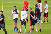 Hatem Ben Arfa and Layvin Kurzawa during Paris Saint Germain First Training Session on July 4 2016 in Camp des Loges SaintGermainenLaye France