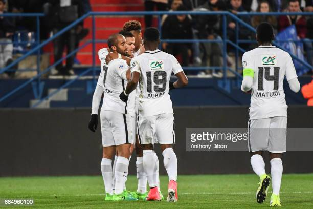 Hatem Ben Arfa and team of PSG celebrates a goal during the French National Cup Quarter Final match between Us Avranches and Paris Saint Germain at...
