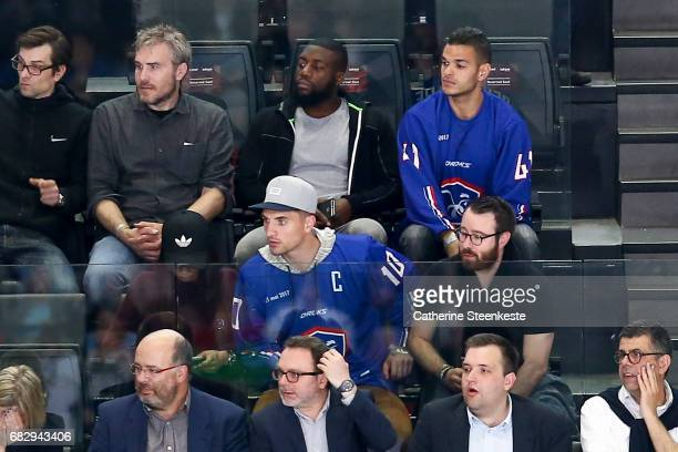 Hatem Ben Arfa and Thomas Meunier French footballers who are playing for Paris Saint Germain are attending the 2017 IIHF Ice Hockey World...