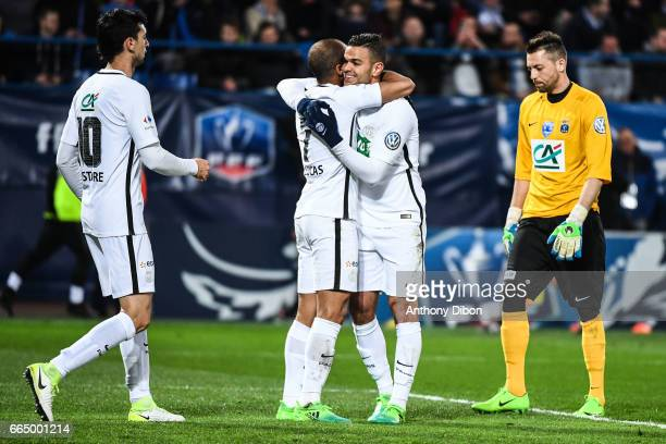 Hatem Ben Arfa celebrates a goal with Lucas Moura of PSG during the French National Cup Quarter Final match between Us Avranches and Paris Saint...