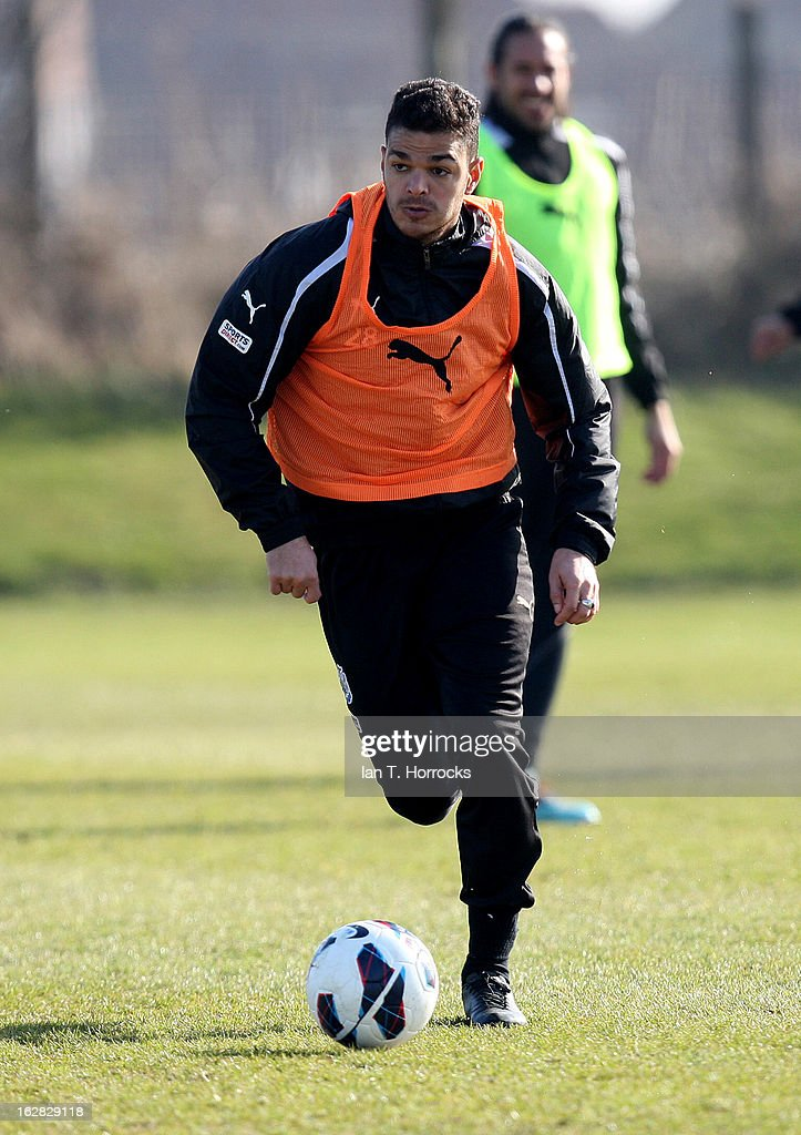 <a gi-track='captionPersonalityLinkClicked' href=/galleries/search?phrase=Hatem+Ben+Arfa&family=editorial&specificpeople=825038 ng-click='$event.stopPropagation()'>Hatem Ben Arfa</a> in action during a Newcastle United training session at the Little Benton training ground on February 28, 2013 in Newcastle upon Tyne, England.