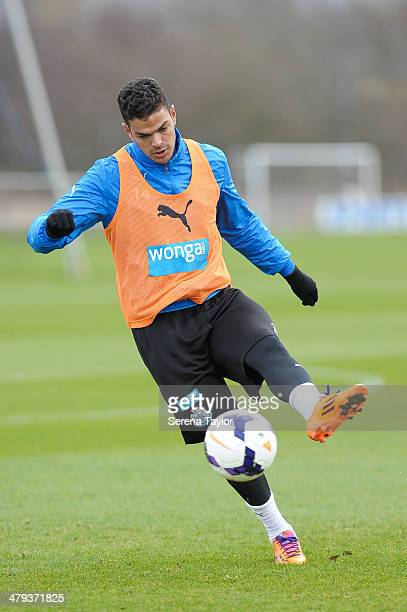 Hatem Ben Arfa kicks the ball during a training session at The Newcastle United Training Centre on March 18 in Newcastle upon Tyne England