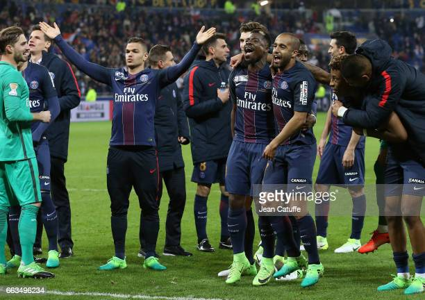 Hatem Ben Arfa Lucas Moura and Serge Aurier of PSG celebrate the victory following the French League Cup final between Paris SaintGermain and AS...