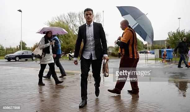 Hatem Ben Arfa of Hull City arrives at the stadium before the Barclays Premier League match between Hull City and Crystal Palace at KC Stadium on...